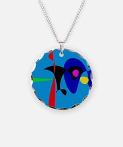 Abstract Expressionism Simple Digital Art Necklace