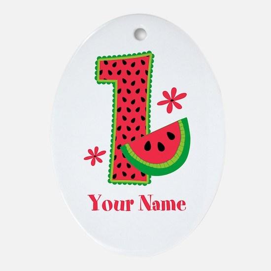 Watermelon 1st Birthday Ornament (Oval)