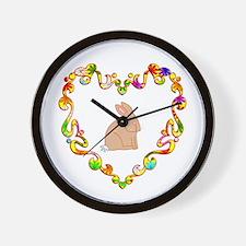 Fancy Heart Rabbit Wall Clock