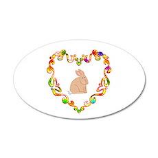 Fancy Heart Rabbit 35x21 Oval Wall Decal
