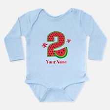 Watermelon 2nd Birthda Long Sleeve Infant Bodysuit