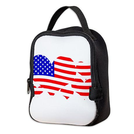 Flag hearts Neoprene Lunch Bag