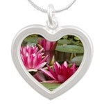 Lotus Flower Blossom Silver Heart Necklace