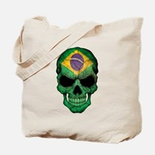 Brazilian Flag Skull Tote Bag