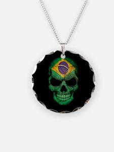 Brazilian Flag Skull on Black Necklace
