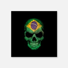 Brazilian Flag Skull on Black Sticker
