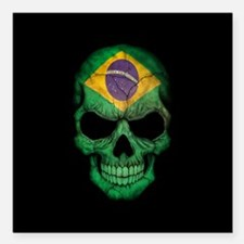 """Brazilian Flag Skull on Black Square Car Magnet 3"""""""