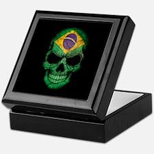 Brazilian Flag Skull on Black Keepsake Box