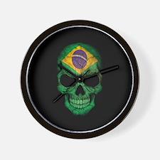 Brazilian Flag Skull on Black Wall Clock