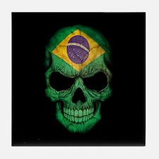 Brazilian Flag Skull on Black Tile Coaster