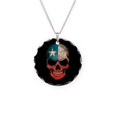 Chilean Flag Skull on Black Necklace