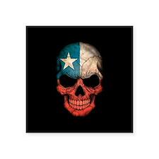Chilean Flag Skull on Black Sticker