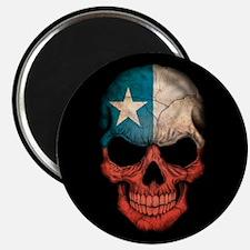 Chilean Flag Skull on Black Magnets