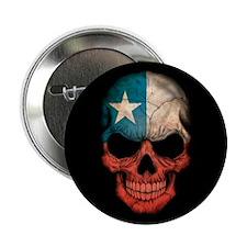"Chilean Flag Skull on Black 2.25"" Button"