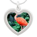 Stunning Scarlet Ibis Silver Heart Necklace