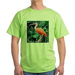 Stunning Scarlet Ibis Green T-Shirt