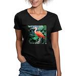 Stunning Scarlet Ibis Women's V-Neck Dark T-Shirt