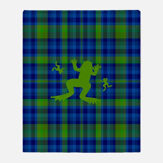 Frogs in a Pond Plaid Throw Blanket