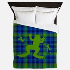 Frogs in a Pond Plaid Queen Duvet