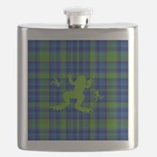 Frogs in a Pond Plaid Flask