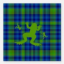 """Frogs in a Pond Plaid Square Car Magnet 3"""" x 3"""""""