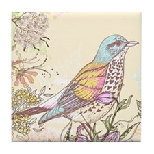 Bird and Flowers Tile Coaster