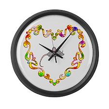 Fancy Heart Mouse Large Wall Clock