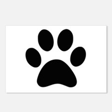 Black Paw print Postcards (Package of 8)