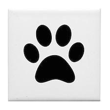 Black Paw print Tile Coaster
