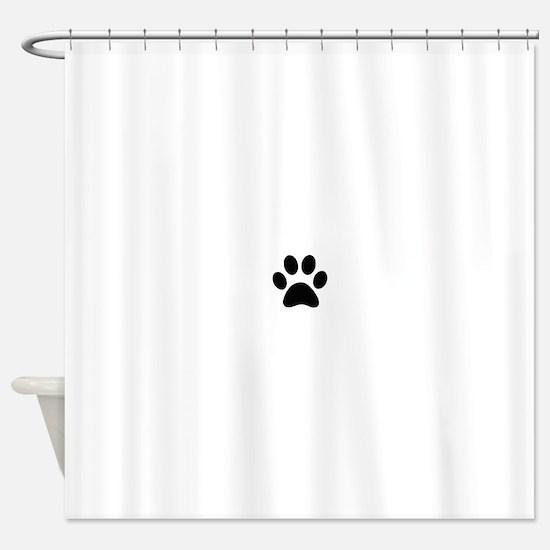 Black Paw print Shower Curtain