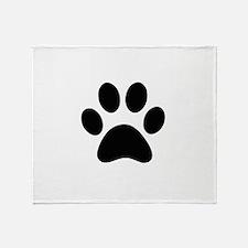 Black Paw print Throw Blanket