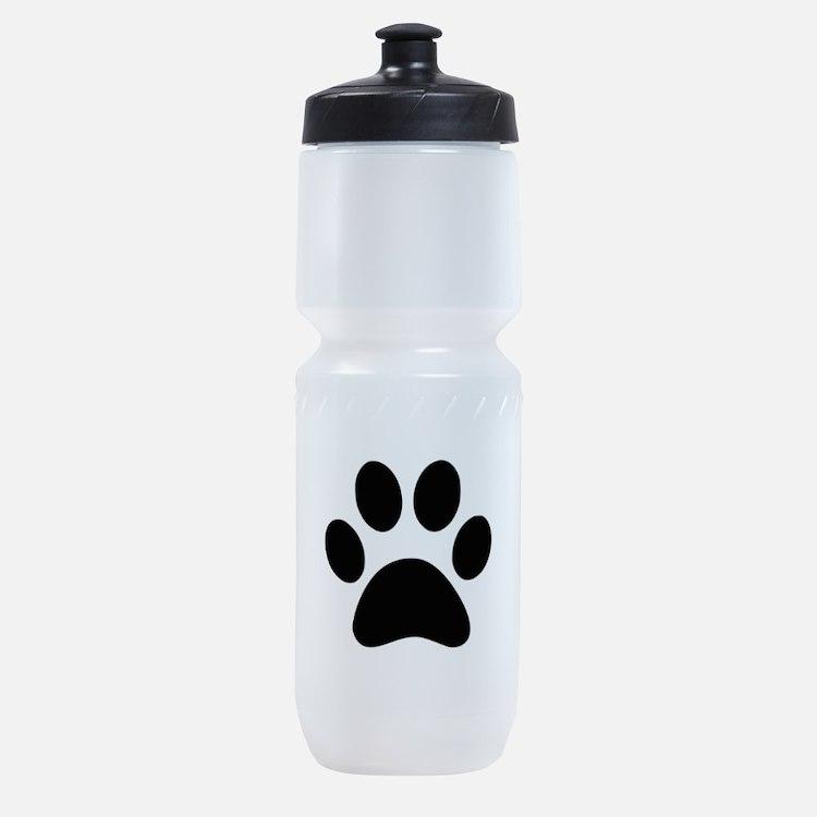 Black Paw print Sports Bottle