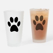 Black Paw print Drinking Glass