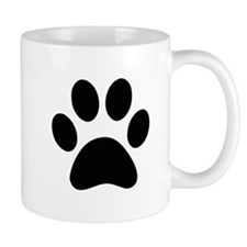 Black Paw print Mugs