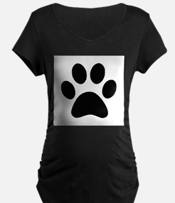 Black Paw print Maternity T-Shirt