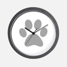 Grey Paw print Wall Clock