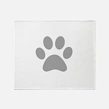 Grey Paw print Throw Blanket