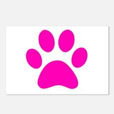 Hot Pink Paw print Postcards (Package of 8)