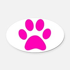 Hot Pink Paw print Oval Car Magnet