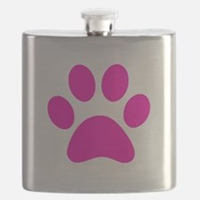 Hot Pink Paw print Flask