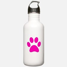Hot Pink Paw print Sports Water Bottle
