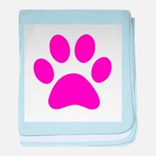 Hot Pink Paw print baby blanket