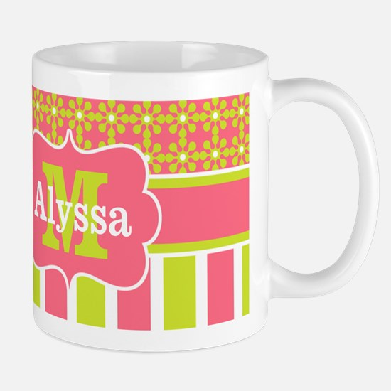 Coral Green Stripe Floral Personalized Mugs