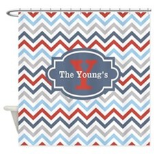 Red Gray Blue Chevron Personalized Shower Curtain