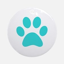 Turquoise Paw print Ornament (Round)