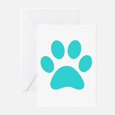 Turquoise Paw print Greeting Cards