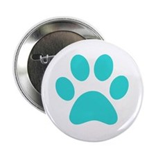 "Turquoise Paw print 2.25"" Button"