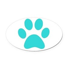 Turquoise Paw print Oval Car Magnet