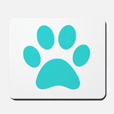 Turquoise Paw print Mousepad