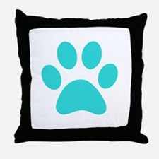Turquoise Paw print Throw Pillow